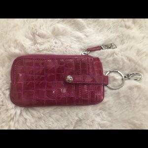 Brighton pink croc wallet key holder card case